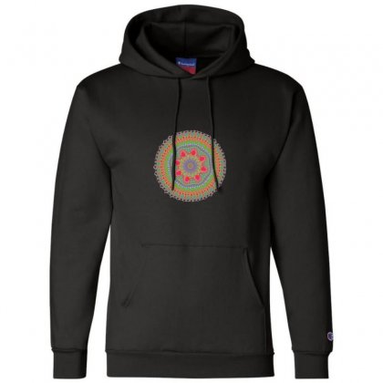 Circular Fractal Mandala Champion Hoodie Designed By Zykkwolf