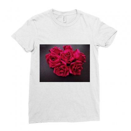 Red Rose Ladies Fitted T-shirt Designed By Debasuya