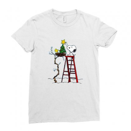 Snoopy Christmas Ladies Fitted T-shirt Designed By Roxanne