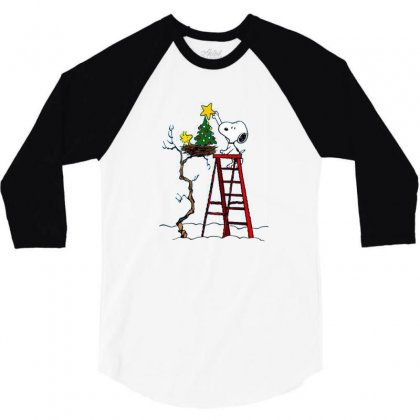 Snoopy Christmas 3/4 Sleeve Shirt Designed By Roxanne