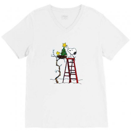 Snoopy Christmas V-neck Tee Designed By Roxanne