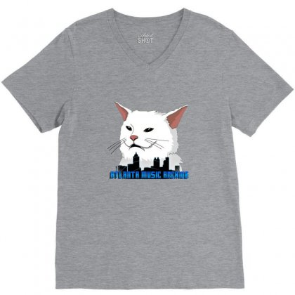 Atlanta Music Cat V-neck Tee Designed By Sr88
