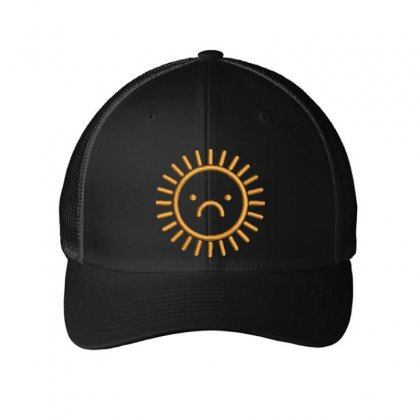 Sad Sun Embroidered Mesh Cap Designed By Madhatter