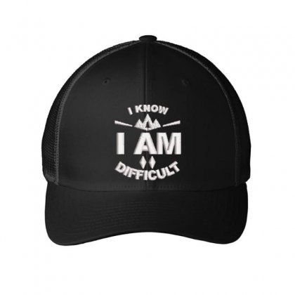 I Am Difficult Embroidered Mesh Cap Designed By Madhatter