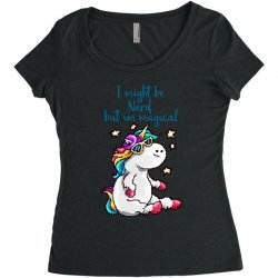 nerd and magical unicorn Women's Triblend Scoop T-shirt | Artistshot