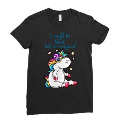 nerd and magical unicorn Ladies Fitted T-Shirt | Artistshot