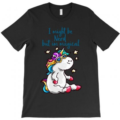 Nerd And Magical Unicorn T-shirt Designed By Colorfull Art