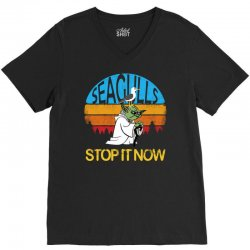 retro vintage seagulls stop it now V-Neck Tee | Artistshot