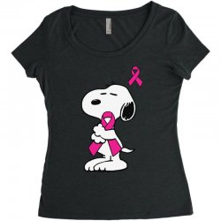 snoopy   support breast cancer Women's Triblend Scoop T-shirt | Artistshot