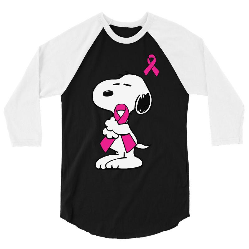 Snoopy   Support Breast Cancer 3/4 Sleeve Shirt | Artistshot
