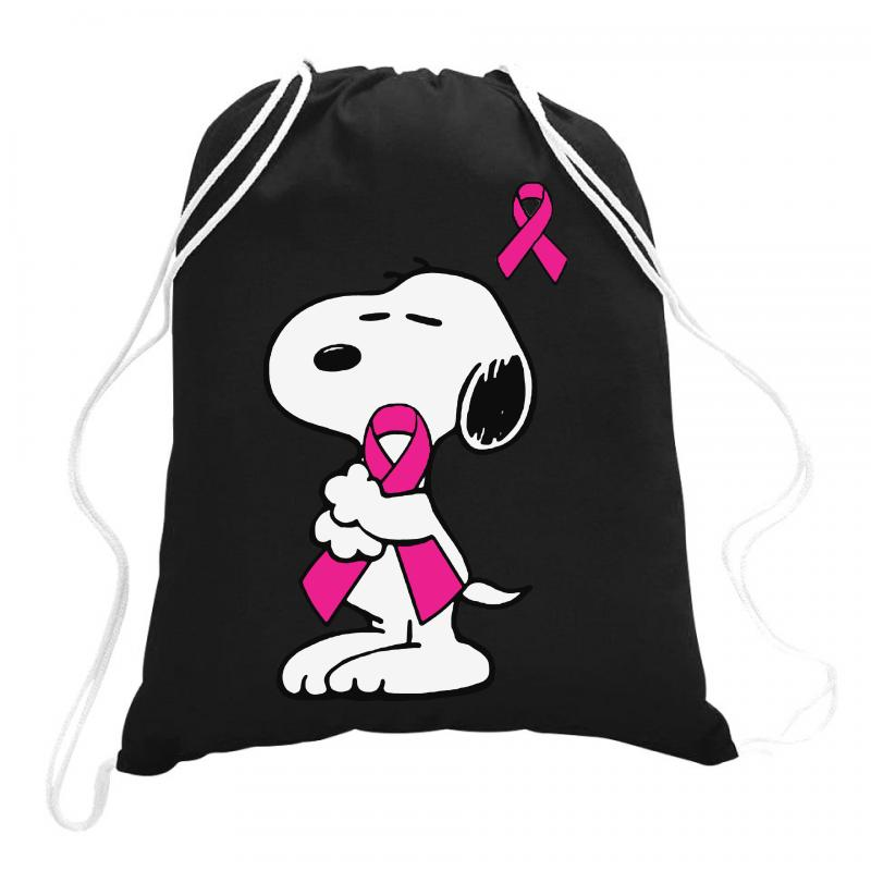 Snoopy   Support Breast Cancer Drawstring Bags | Artistshot