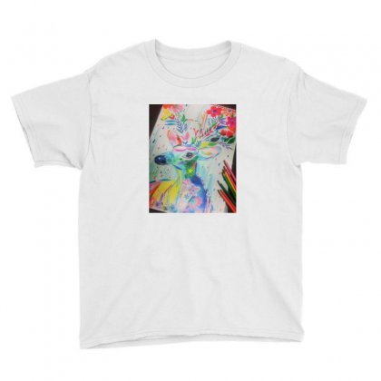 Floral Deer Youth Tee Designed By Innovator Overload