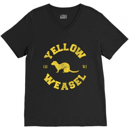 Yellow Weasel V-neck Tee Designed By Kakashop