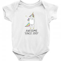 Awesome since 2007 cute unicorn  birthday t shirt Baby Bodysuit | Artistshot