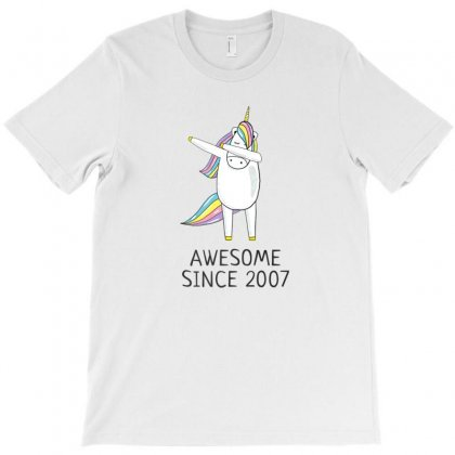 Awesome Since 2007 Cute Unicorn  Birthday T Shirt T-shirt Designed By Ursulart