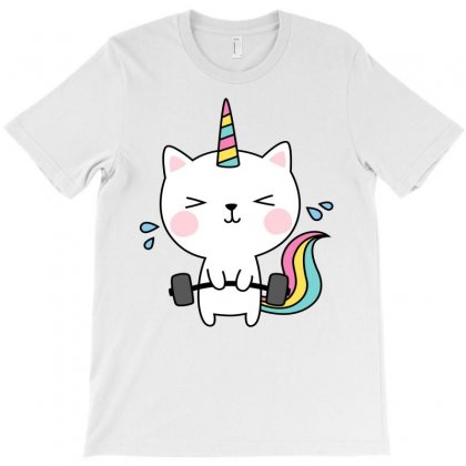 Cat Unicorn T Shirt Workout Gym Rainbow Caticorn Cute Shirt T-shirt Designed By Ursulart