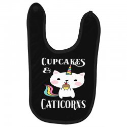 Caticorn cat unicorn shirt cupcakes & caticorns rainbow tee Baby Bibs | Artistshot