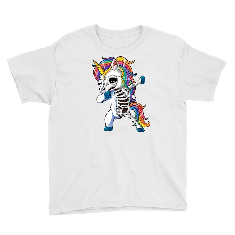 Dabbing Unicorn Skeleton T Shirt Halloween Girls Dab Gifts Youth Tee | Artistshot