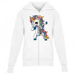 Dabbing unicorn skeleton t shirt halloween girls dab gifts Youth Zipper Hoodie | Artistshot