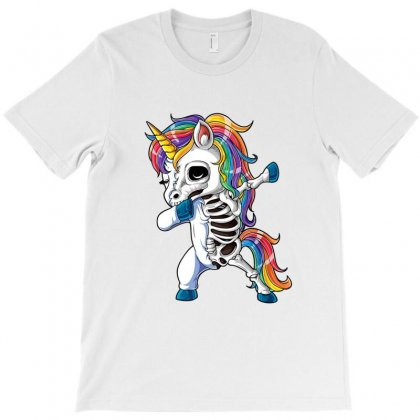 Dabbing Unicorn Skeleton T Shirt Halloween Girls Dab Gifts T-shirt Designed By Ursulart