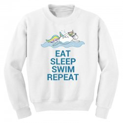 Eat sleep swim repeat unicorn swimming t shirt Youth Sweatshirt | Artistshot