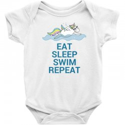 Eat sleep swim repeat unicorn swimming t shirt Baby Bodysuit | Artistshot