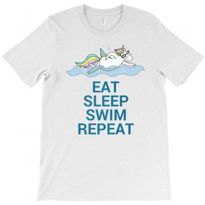 Eat Sleep Swim Repeat Unicorn Swimming T Shirt T-shirt Designed By Ursulart
