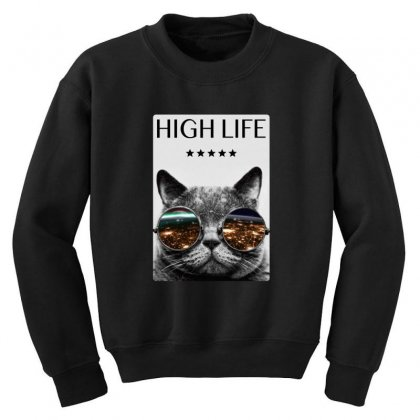 High Life Cat Youth Sweatshirt Designed By Gurkan