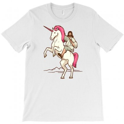 Jesus On Unicorn Jesus Christ Riding A Unicorn T Shirt T-shirt Designed By Ursulart