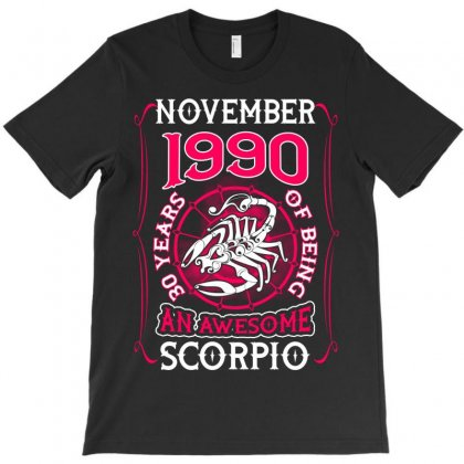November 1990 30 Years Of Being Scorpio T-shirt Designed By Twinklered.com