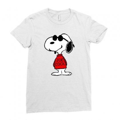 Snoopy Joe Cool Glasses Ladies Fitted T-shirt Designed By Roxanne