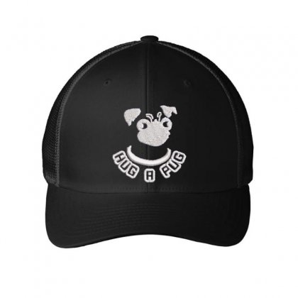 Hug A Pug Embroidered Mesh Cap Designed By Madhatter