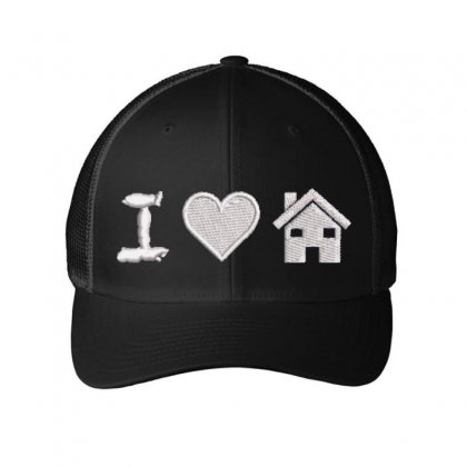 I Love Home Embroidered Mesh Cap Designed By Madhatter