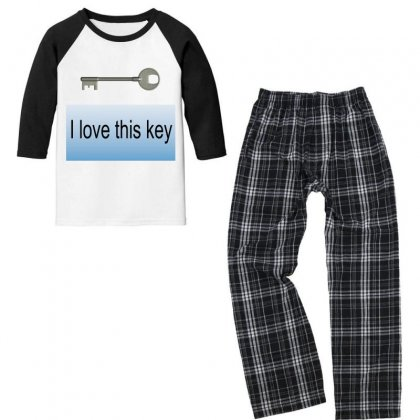 I Love This Key Youth 3/4 Sleeve Pajama Set Designed By Thappy