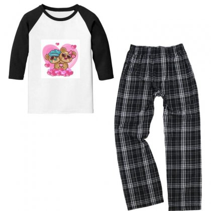 —pngtree—cute Bear Girl And Boy 4761166 Youth 3/4 Sleeve Pajama Set Designed By Devasi