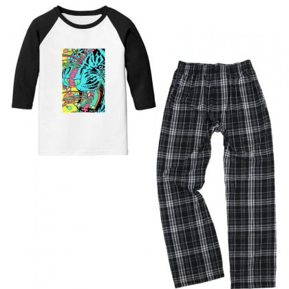 Psychedelic Tiger Youth 3/4 Sleeve Pajama Set Designed By Sr88