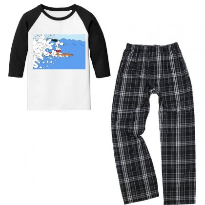 Snoopy Surfing Youth 3/4 Sleeve Pajama Set Designed By Roxanne