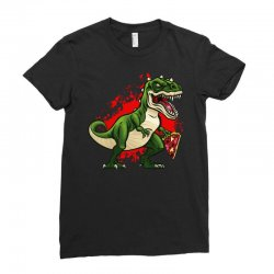 t-rex dinosaur pizza Ladies Fitted T-Shirt | Artistshot
