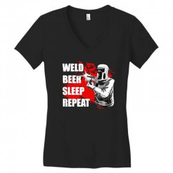 weld beer sleep repeat welding funny Women's V-Neck T-Shirt | Artistshot
