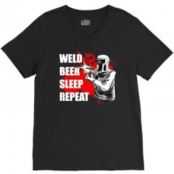 weld beer sleep repeat welding funny V-Neck Tee | Artistshot