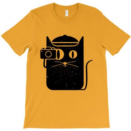 Cat And Camera T-shirt Designed By Komodo Dragon
