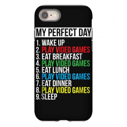 My Perfect Day Video Games T Shirt Funny Cool Gamer Tee Gift Iphone 8 Case Designed By Cuser1744