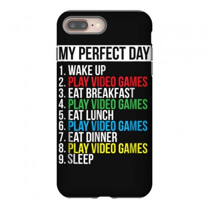 My Perfect Day Video Games T Shirt Funny Cool Gamer Tee Gift Iphone 8 Plus Case Designed By Cuser1744