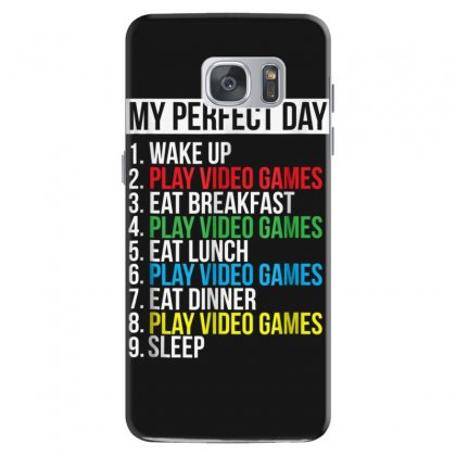 My Perfect Day Video Games T Shirt Funny Cool Gamer Tee Gift Samsung Galaxy S7 Case Designed By Cuser1744