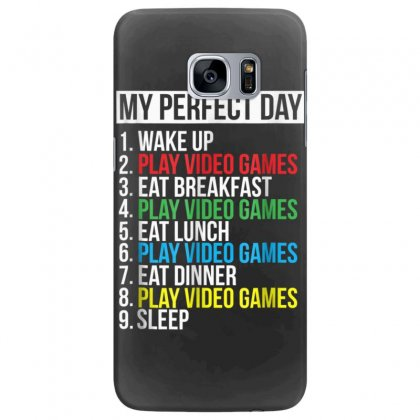 My Perfect Day Video Games T Shirt Funny Cool Gamer Tee Gift Samsung Galaxy S7 Edge Case Designed By Cuser1744