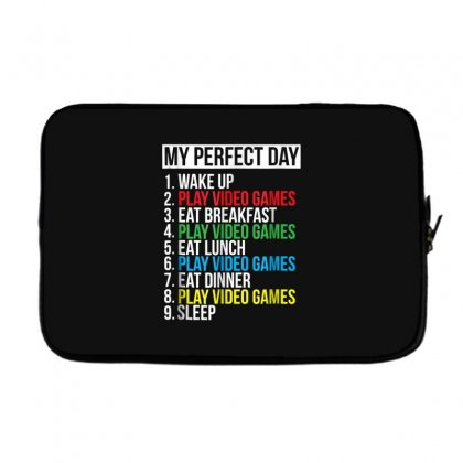 My Perfect Day Video Games T Shirt Funny Cool Gamer Tee Gift Laptop Sleeve Designed By Cuser1744
