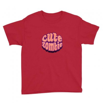 Typographic Zombie Brain Comic Style Youth Tee Designed By As99