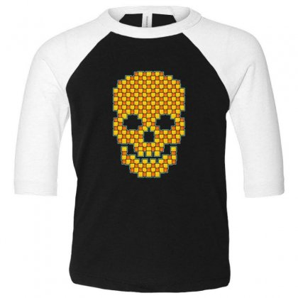 Tiled Skull Toddler 3/4 Sleeve Tee Designed By Sr88