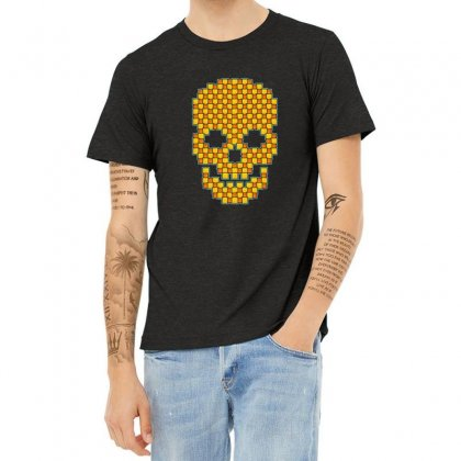 Tiled Skull Heather T-shirt Designed By Sr88