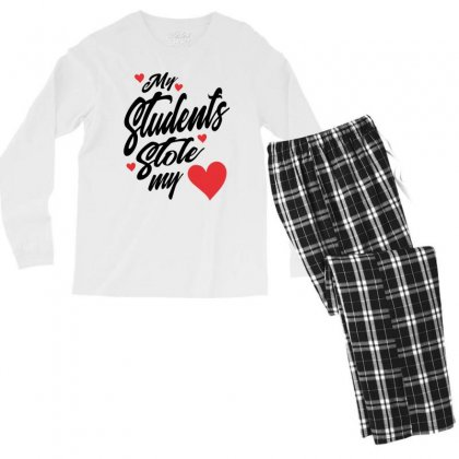 My Students Stole My Heart Teacher Valentines Day Gift Men's Long Sleeve Pajama Set Designed By Cidolopez